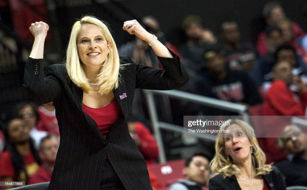 Maryland head coach Brenda Frese seems happy as her team handily beats Michigan State in the NCAA second round Monday March 25, 2013 in College Park, MD at Comcast Center.