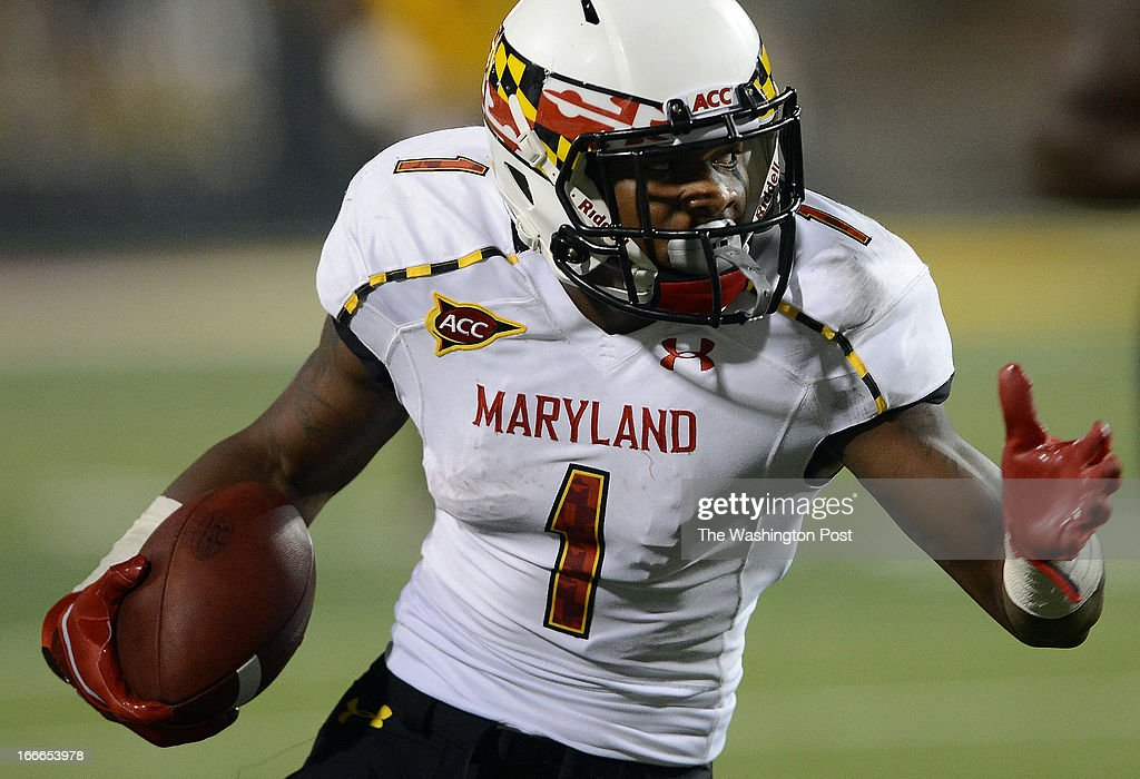 Maryland sophomore Stefon Diggs during the Terrapins' spring football game at Byrd Stadium on Friday, April 12, 2013.