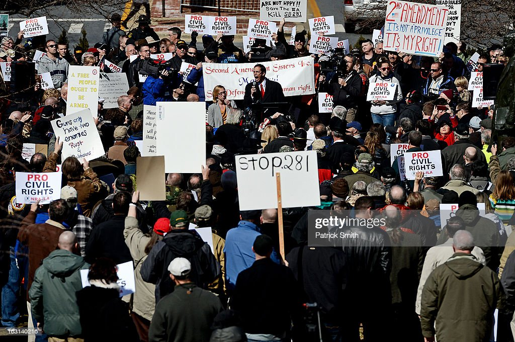Maryland State Delegate Don Dwyer, Jr., speaks to other Second Amendment supporters as they rally against stricter gun control laws at the Maryland State House on March 5, 2013 in Annapolis, Maryland. If the Maryland Firearm Safety Act legislation bill is passed, it would require a license to purchase a handgun, ban the sale of assault style rifles and limit magazine size, among other provisions.