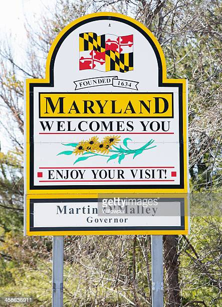 Maryland State Line Welcome Sign