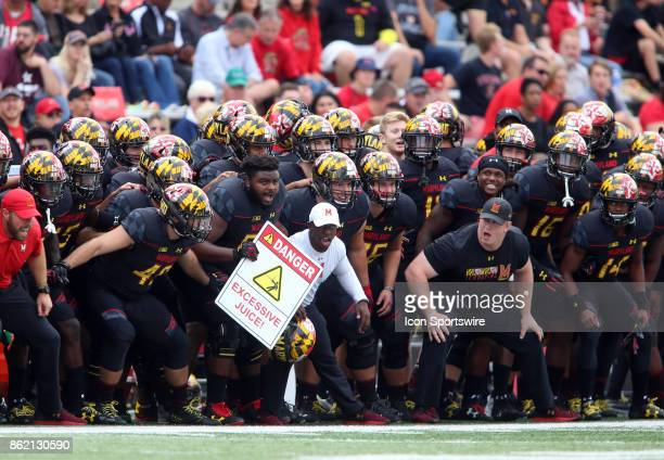 Maryland Terrapins bench rally before a college football game between the Maryland Terrapins and the Northwestern Wildcats on October 14 at Capital...