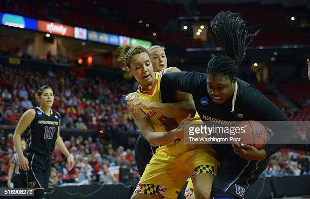 Maryland Terrapins center Malina Howard fights with Washington Huskies Aja Ellison in the first half of the NCAA women's basketball tournament second...