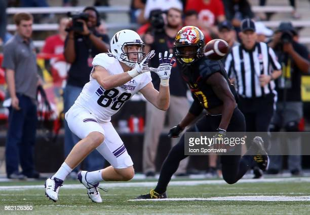 Maryland Terrapins defensive back Tino Ellis moves in as Northwestern Wildcats wide receiver Bennett Skowronek waits for the pass during a college...