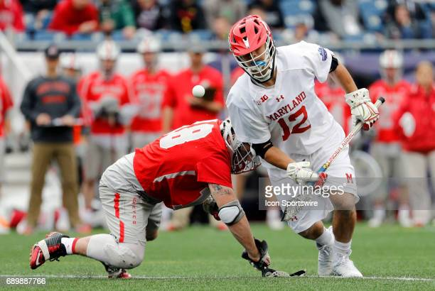 Maryland Terrapins faceoff Jon Garino slips away from Ohio State Buckeyes midfielder Jake Withers on a face off during the NCAA Division 1 Men's...