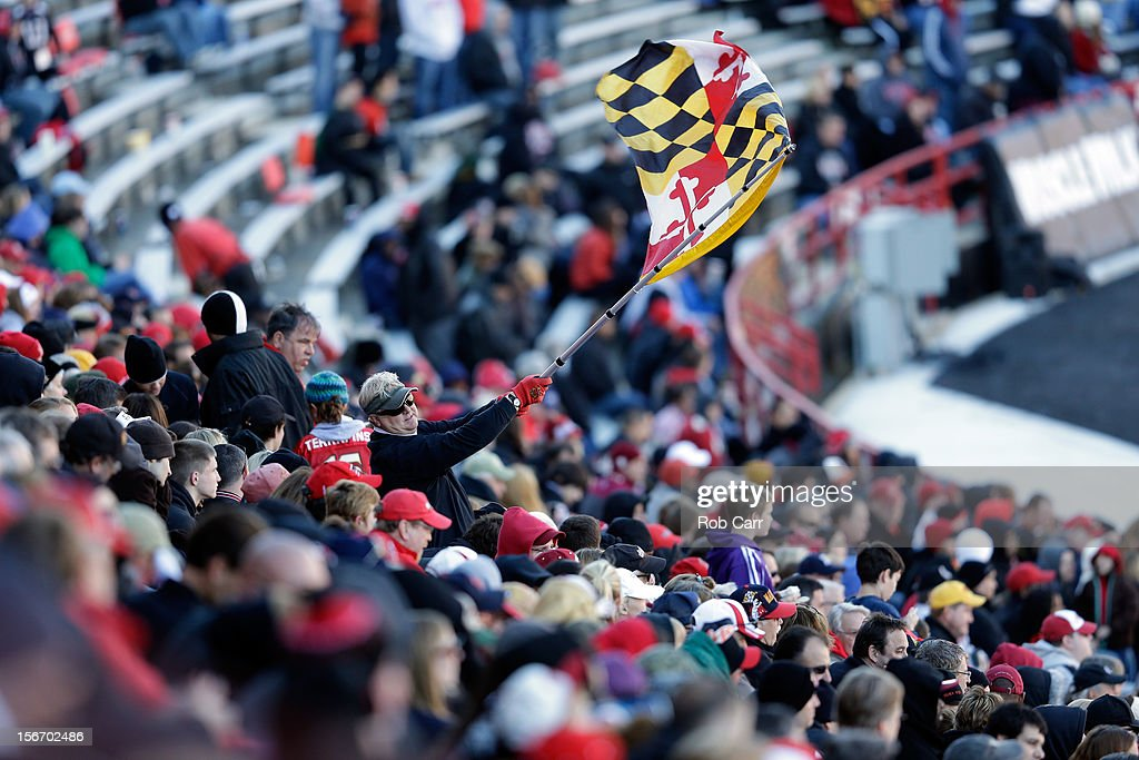 A Maryland Terrapins fan waves a flag during the Terrapins and Florida State Seminoles game at Byrd Stadium on November 17, 2012 in College Park, Maryland.