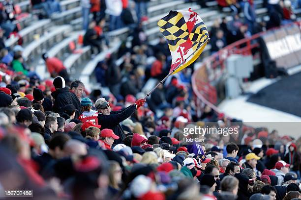 Maryland Terrapins fan waves a flag during the Terrapins and Florida State Seminoles game at Byrd Stadium on November 17 2012 in College Park Maryland