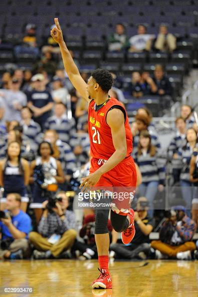 Maryland Terrapins forward Justin Jackson reacts after making a three point basket against the Georgetown Hoyas on November 15 at the Verizon Center...