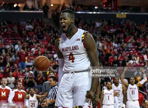 Maryland Terrapins forward Robert Carter celebrates after dunking the ball during the second half of the game between the Maryland Terrapins and the...