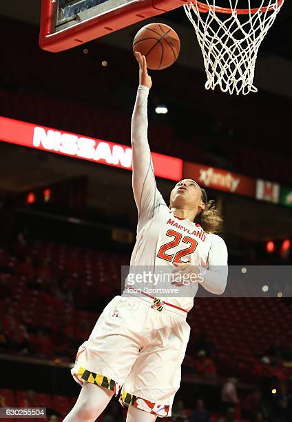 Maryland Terrapins guard Blair Watson taps one in under the basket during a women's NCAA basketball game on December 6 2016 at Xfinity Center in...
