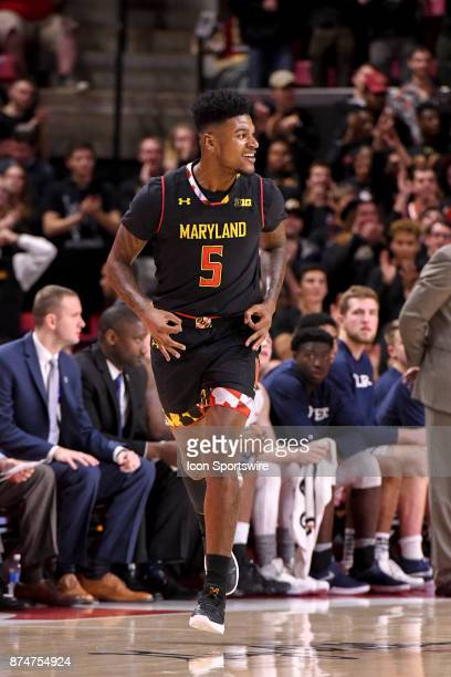 Maryland Terrapins guard Dion Wiley reacts after making a three point basket on November 15 at Xfinity Center in College Park MD The Maryland...
