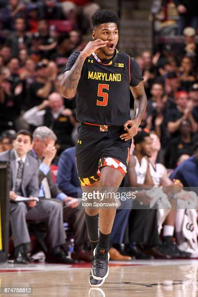 Maryland Terrapins guard Dion Wiley reacts after making a three point basket in the first half against the Butler Bulldogs on November 15 at Xfinity...