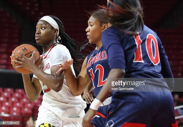 Maryland Terrapins guard Kaila Charles passes away from Howard Bison guard/forward Curstyn Moore and guard Tajzhane Dopson during a women's college...