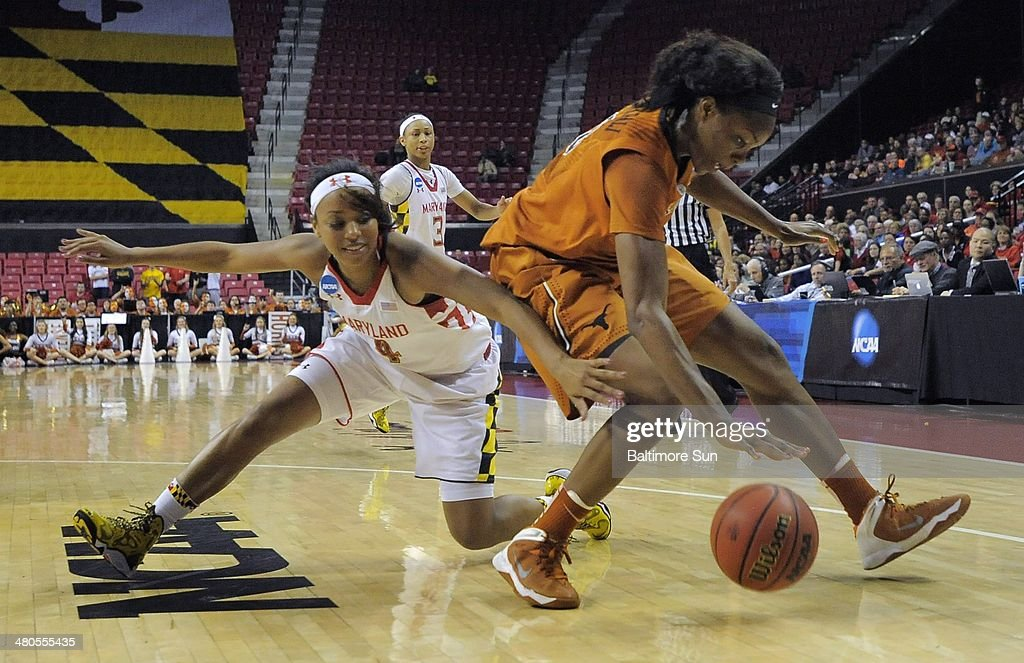 Maryland Terrapins guard Lexie Brown stumbles while trying to steal the ball from Texas Longhorns forward Nneka Enemkpali during the second round of the NCAA Tournament in College Park, Md., on Tuesday, March 25, 2014.
