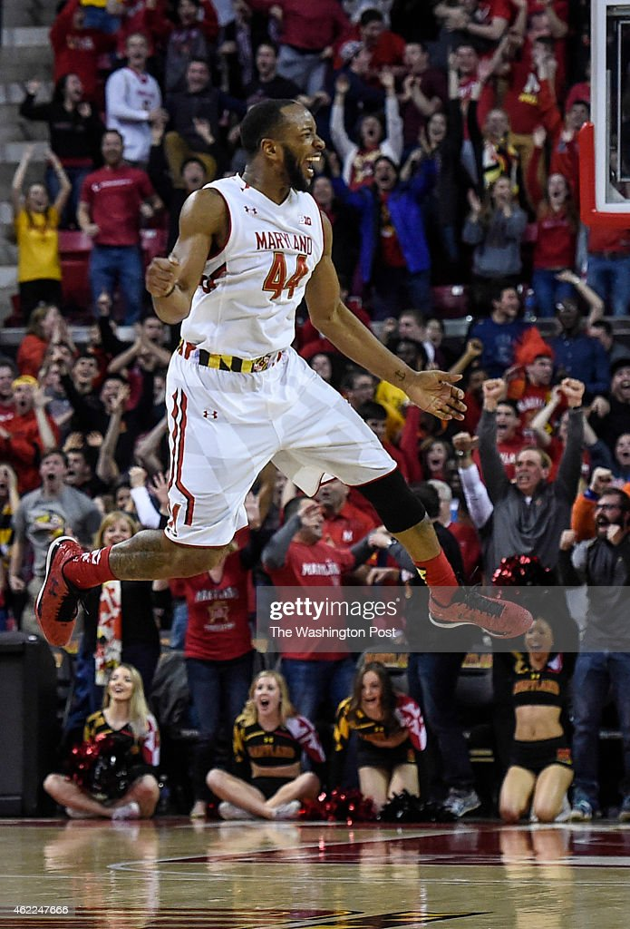 Maryland Terrapins guard/forward Dez Wells celebrates after hitting the final basket with 14 seconds left to give the Maryland Terrapins the lead...