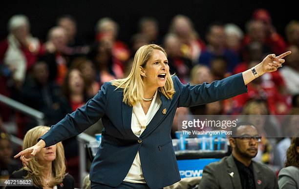 Maryland Terrapins head coach Brenda Frese questions the refs in the second half of the first round of the women's NCAA basketball tournament at...