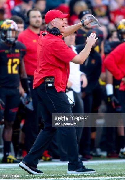 Maryland Terrapins head coach DJ Durkin calls a timeout during a college football game between the Maryland Terrapins and the Northwestern Wildcats...