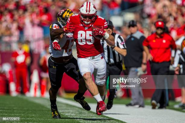 Maryland Terrapins linebacker Nick Underwood pushed Wisconsin Badger tight end Zander Neuville out of bounce durning an college football game between...