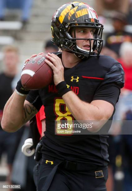 Maryland Terrapins quarterback Caleb Henderson warms up before a college football game between the Maryland Terrapins and the Northwestern Wildcats...