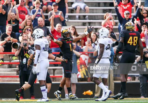 Maryland Terrapins wide receiver DJ Moore after a first half touchdown during a college football game between the Maryland Terrapins and the...