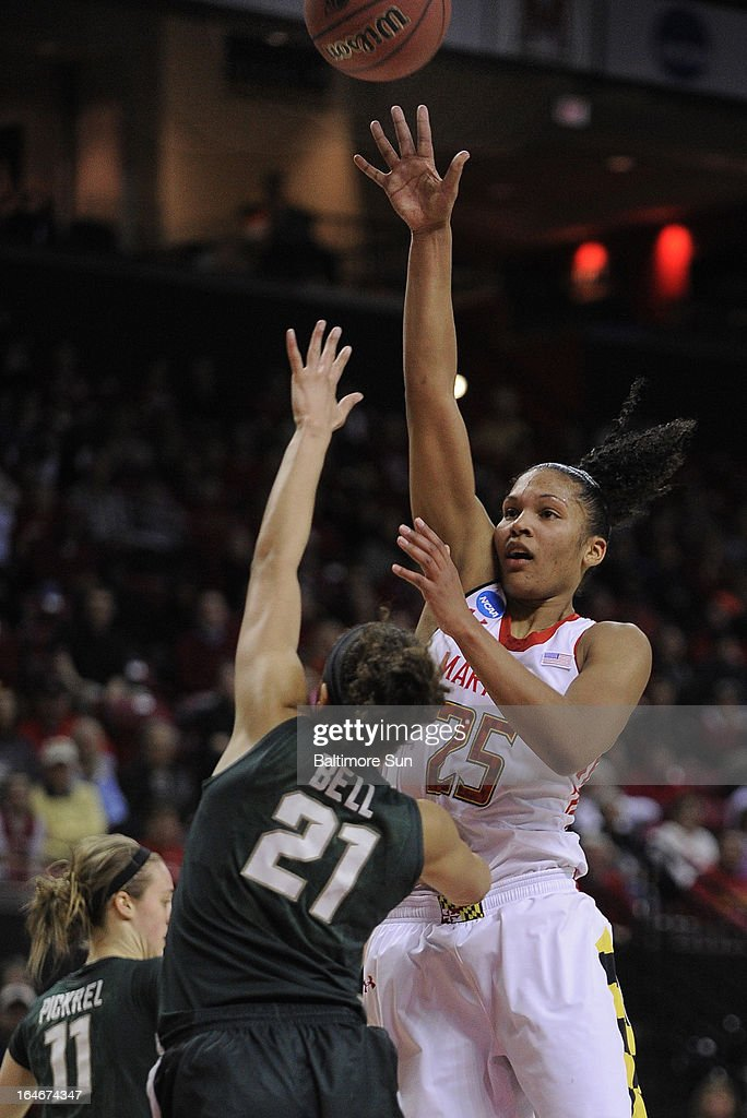 Maryland's Alyssa Thomas puts up two of her 28 points against Michigan State in the women's NCAA Tournament in College Park, Maryland, Monday, March 25, 2013. The Terrapins won, 74-49.