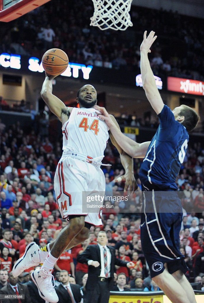 Maryland's Dez Wells goes up for a dunk against Penn State's Donovon Jack in the second half at Xfinity Center in College Park Md on Wednesday Feb 4...
