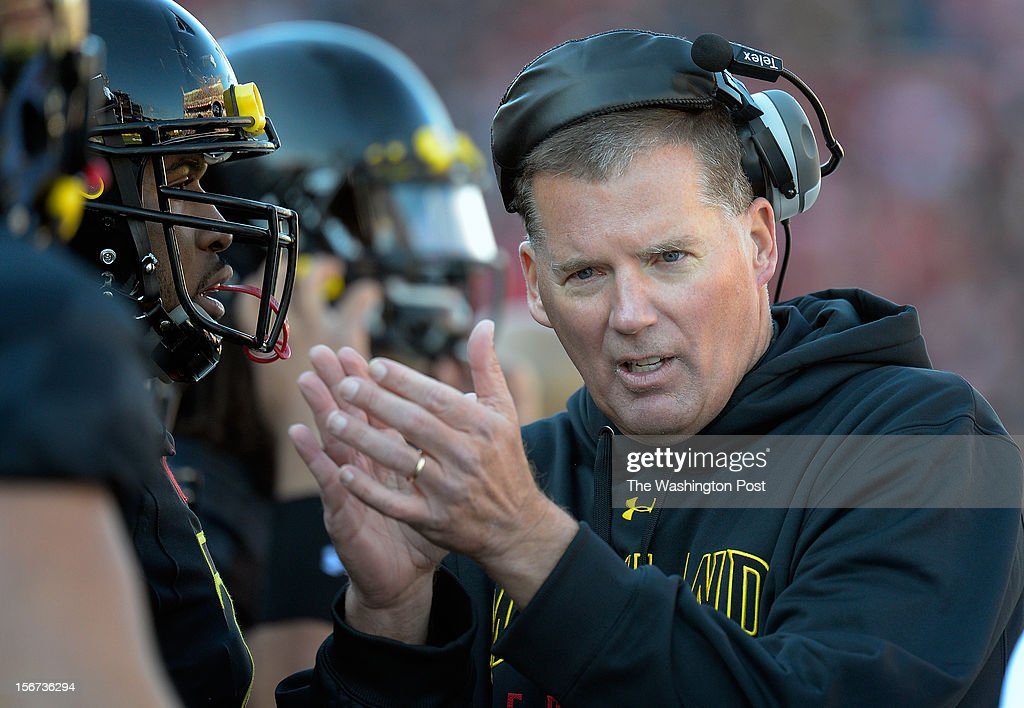 Maryland's head coach Randy Edsall during the Florida State Seminoles defeat of the University of Maryland Terrapins 41 - 14 at Byrd Stadium in College Park MD, November 17, 2012 .