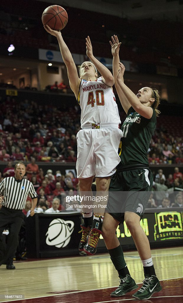 Maryland's Katie Rutan shoots for two in the second half of the NCAA second round against Michigan State's Annalise Pickrel Monday March 25, 2013 in College Park, MD at Comcast Center.
