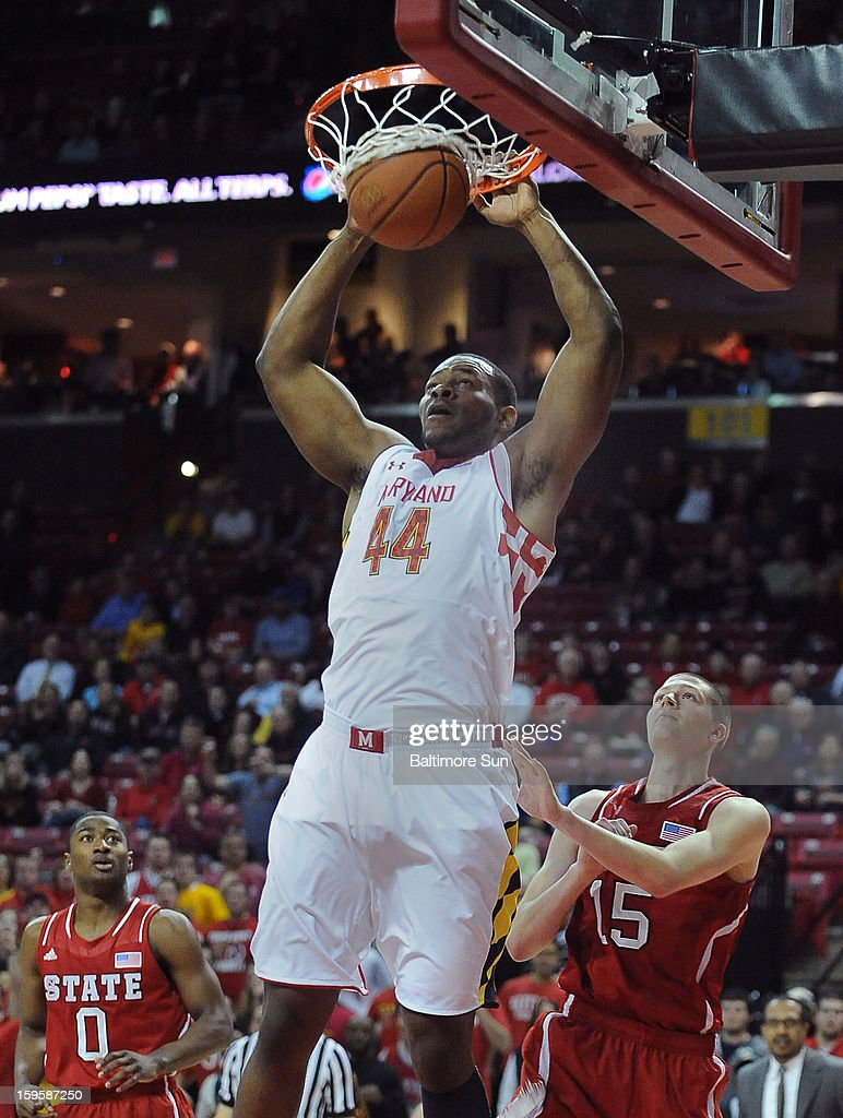 Maryland's Shaquille Cleare (44) dunks over North Carolina State's Scott Wood (15) during first-half action at the Comcast Center on Wednesday, January 16, 2013, in College Park, Maryland.