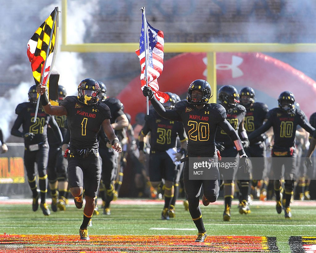 Maryland's Stefon Diggs (1) and Anthony Nixon lead the team onto the field before the start of the game with Florida State at Byrd Stadium in College Park, Maryland, on Saturday, November 17, 2012. The Florida State Seminoles defeated the Maryland Terrapins, 41-14.