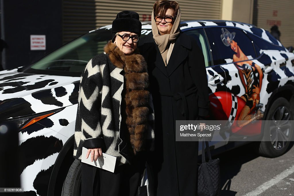 Marylou Luther, editor of the International Fashion Syndicate and the Fashion Group International's creative director (left) and guest attend Fall 2016 New York Fashion Week on February 14, 2016 in New York City.