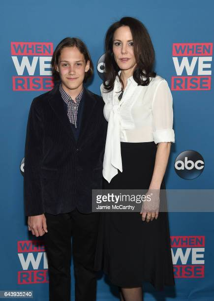 MaryLouise Parker and her son William Parker attend the 'When We Rise' New York Screening Event at The Metrograph on February 22 2017 in New York City