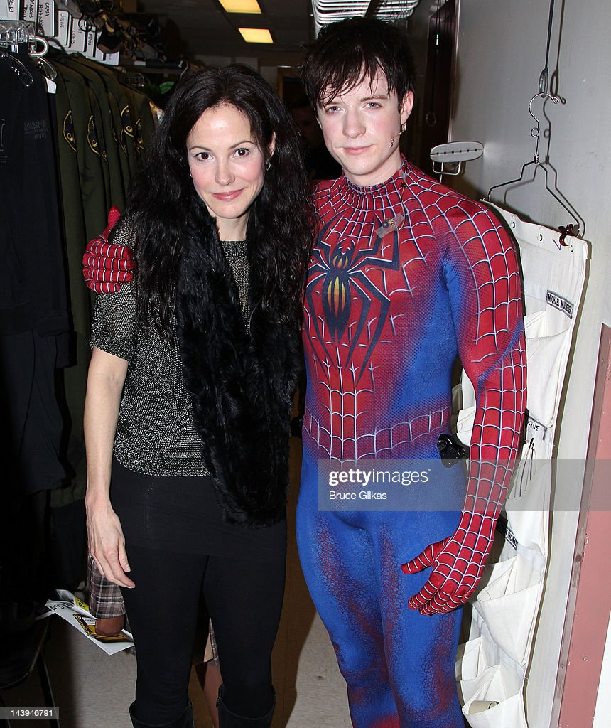 <a gi-track='captionPersonalityLinkClicked' href=/galleries/search?phrase=Mary-Louise+Parker&family=editorial&specificpeople=208766 ng-click='$event.stopPropagation()'>Mary-Louise Parker</a> and Matthew James Thomas as 'Spider-Man' pose backstage at the hit musical 'Spider-Man:Turn Off The Dark' on Broadway at The Foxwoods Theater on May 5, 2012 in New York City.