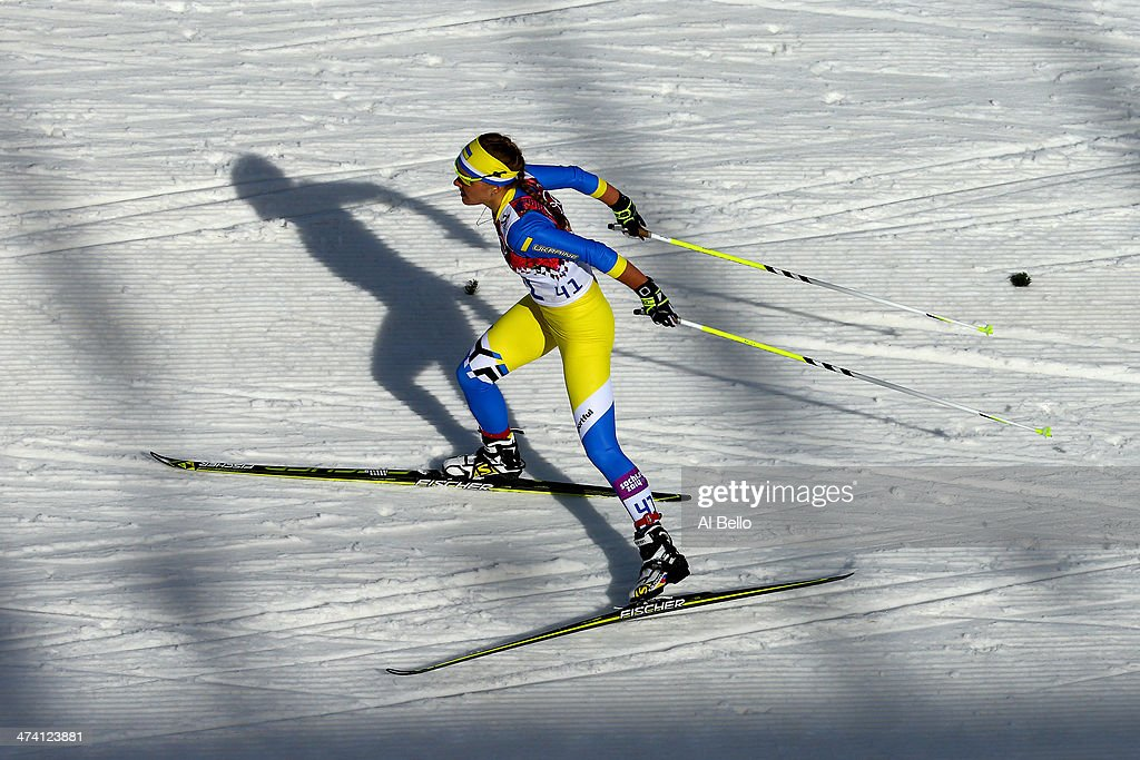 Maryna Antsybor of Ukraine competes during the Women's 30 km Mass Start Free during day 15 of the Sochi 2014 Winter Olympics at Laura Crosscountry...