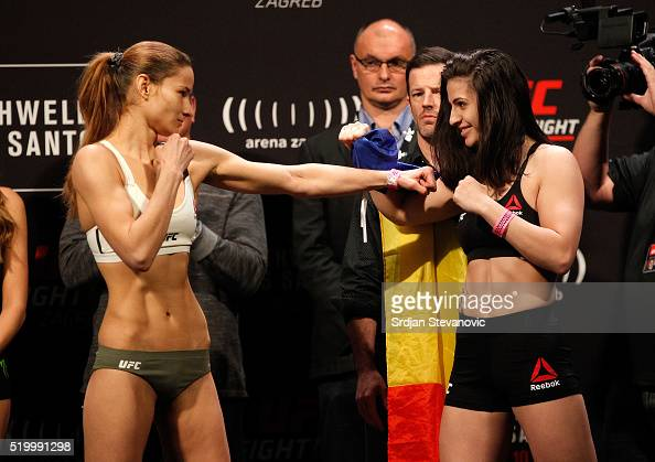 Maryna Moroz of Ukraine and Cristina Stanciu of Romania steps on the scale during the UFC Fight Night weighin at the Arena Zagreb on April 9 2016 in...