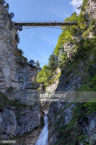 Mary's Bridge over Poellat Gorge with a waterfall, Schwangau, Ostallgaeu, Allgaeu, Schwaben, Bavaria, Germany, Europe