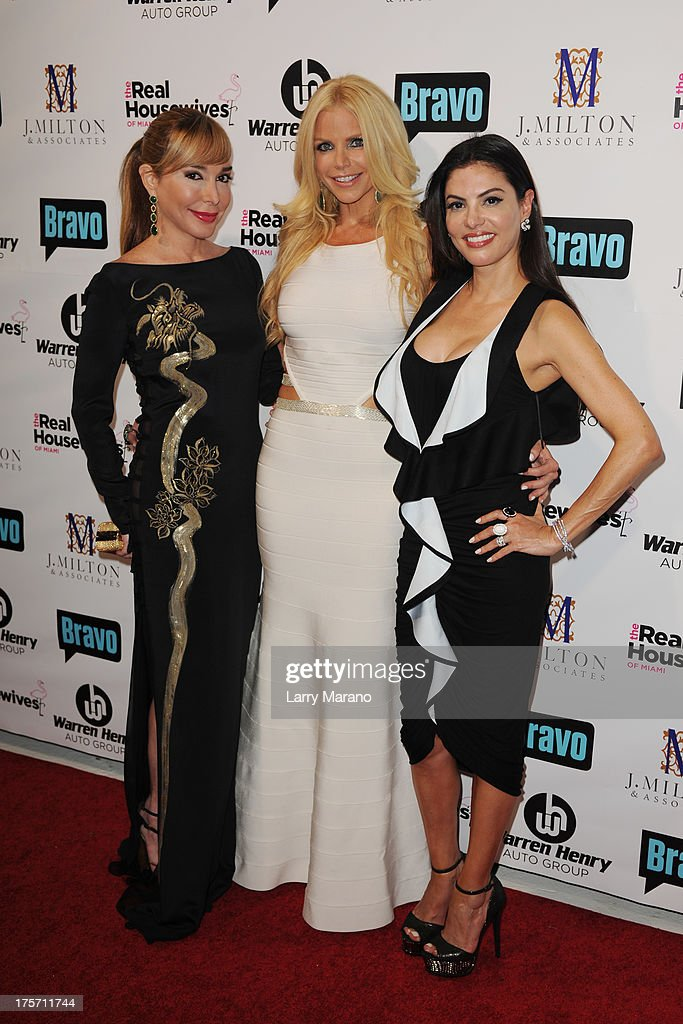 Marysol Patton, Alexia Echevarria and Adriana De Moura attend 'The Real Housewives of Miami' season 3 premiere party on August 6, 2013 in Miami, Florida.