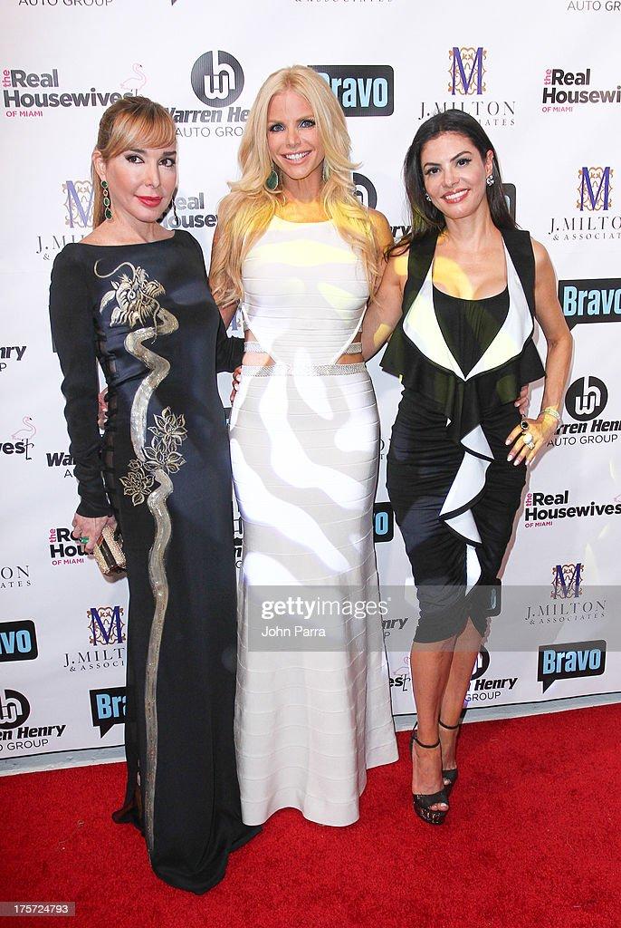 Marysol Patton, Alexia Echevarria and Adriana de Moura attend The Real Housewives of Miami Season 3 Premiere Party on August 6, 2013 in Miami, Florida.