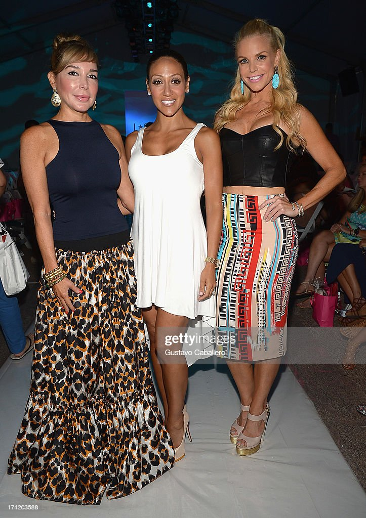 Marysol Patton, Melissa Gorga and Alexia Echevarria pose backstage with Ipanema at the L*SPACE By Monica Wise show during Mercedes-Benz Fashion Week Swim 2014 at Cabana Grande at the Raleigh on July 21, 2013 in Miami, Florida.