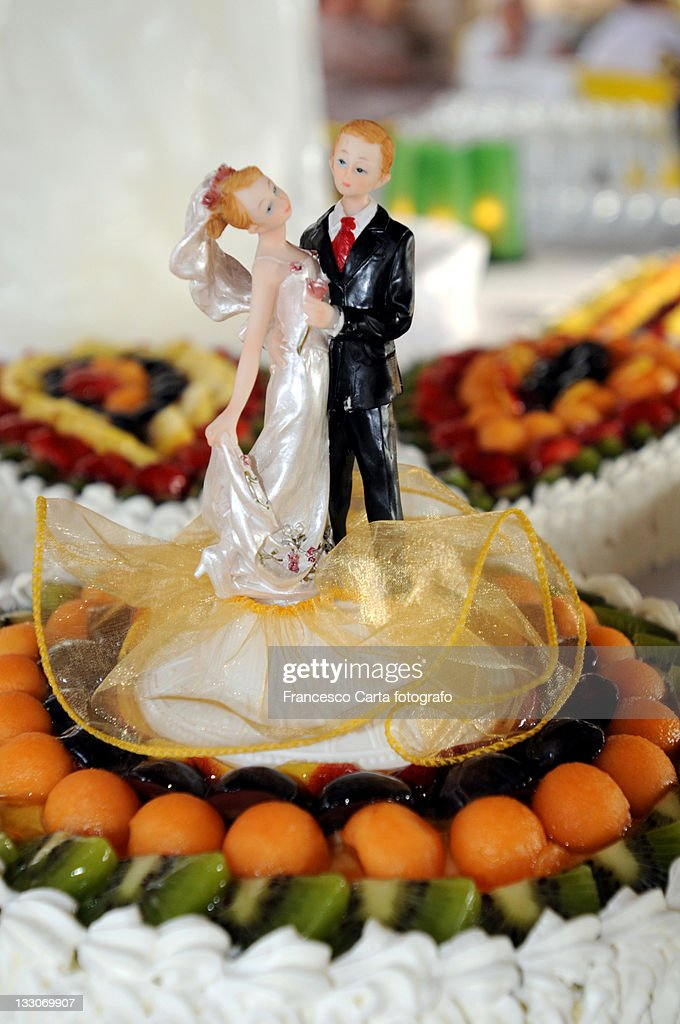 Marzipan Figures On Wedding Cake Stock Photo Getty Images