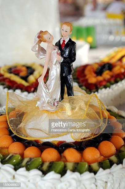 Marzipan figures on wedding cake