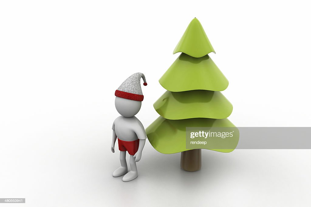 X mas tree and santa man : Stock Photo