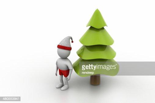 X mas tree and santa man : Stock Photo