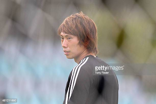Masaaki Higashiguchi Goalkeeper for Japan looks on during a Japan 2015 Asian Cup training session on January 9 2015 in Newcastle Australia