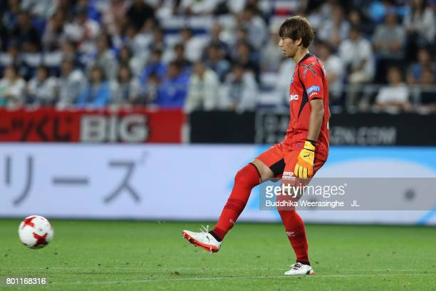 Masaaki Higashiguchi of Gamba Osaka in action during the JLeague J1 match between Gamba Osaka and Kawasaki Frontale at Suita City Football Stadium on...