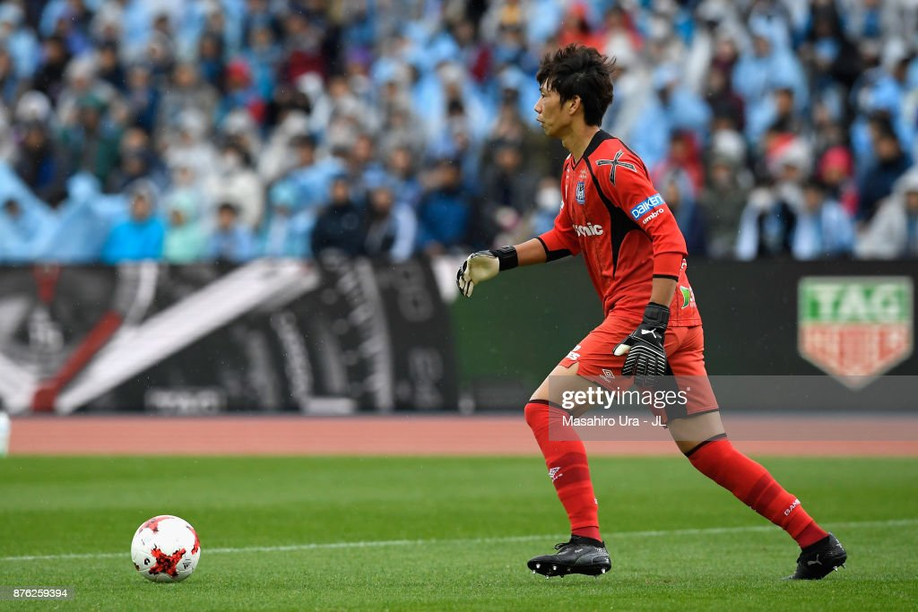 Masaaki Higashiguchi of Gamba Osaka in action during the J.League J1 match between Kawasaki Frontale and Gamba Osaka at Todoroki Stadium on November 18, 2017 in Kawasaki, Kanagawa, Japan.