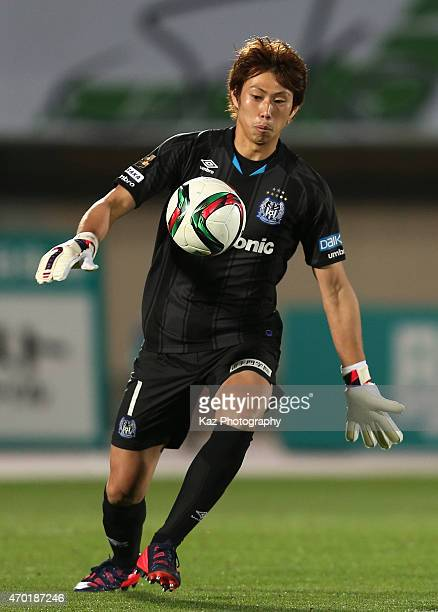 Masaaki Higashiguchi of Gamba Osaka in action during the JLeague match between Shonan Bellmare and Gamba Osaka at Shonan BMW Stadium Hiratsuka on...