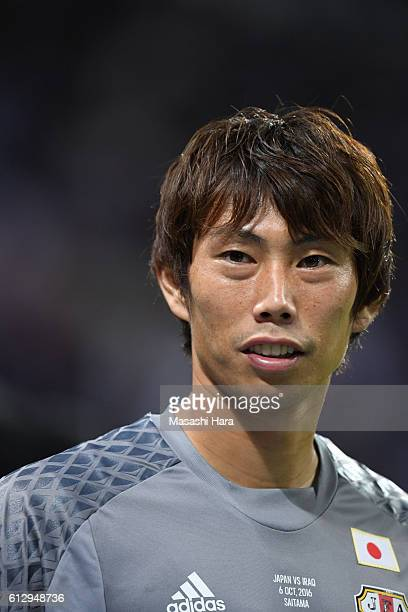 Masaaki Higashiguchi of Japan looks on after the 2018 FIFA World Cup Qualifiers match between Japan and Iraq at Saitama Stadium on October 6 2016 in...