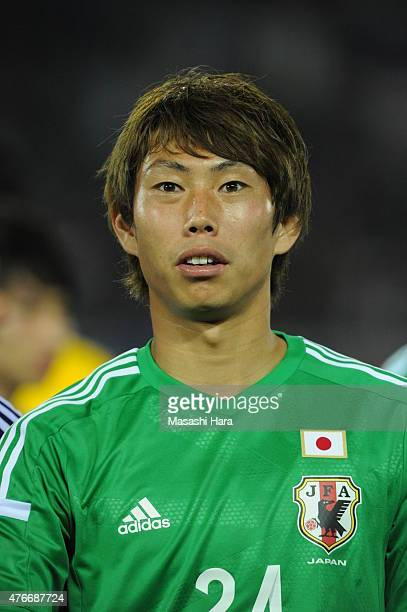 Masaaki Higashiguchi of Japan looks on after the international friendly match between Japan and Iraq at Nissan Stadium on June 11 2015 in Yokohama...