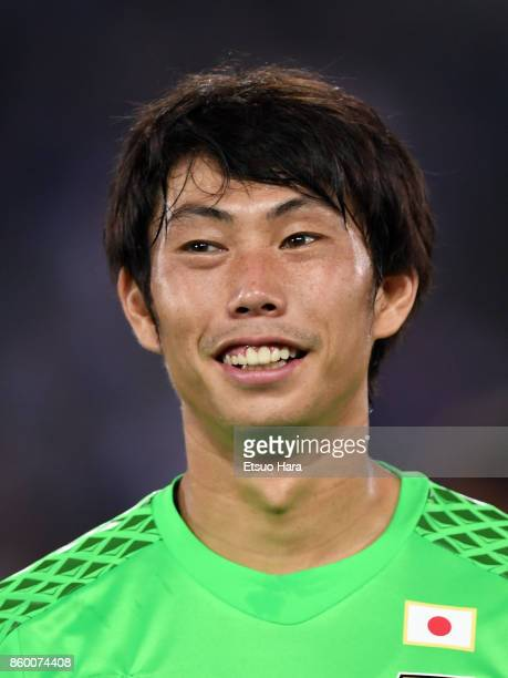 Masaaki Higashiguchi of Japan looks on prior to the international friendly match between Japan and Haiti at Nissan Stadium on October 10 2017 in...