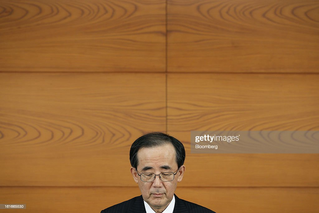<a gi-track='captionPersonalityLinkClicked' href=/galleries/search?phrase=Masaaki+Shirakawa&family=editorial&specificpeople=5103203 ng-click='$event.stopPropagation()'>Masaaki Shirakawa</a>, governor of the Bank of Japan, attends a news conference at the central bank's headquarters in Tokyo, Japan, on Thursday, Feb. 14, 2013. Asian stocks rose after the Bank of Japan maintained its asset-purchasing program before its governor steps down next month. Photographer: Kiyoshi Ota/Bloomberg via Getty Images